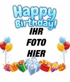 Fotomontage zu machen Ihr Foto zum Geburtstag. Die Zusammensetzung Ihnen alles Gute zum Geburtstag in blau. Die Karte ist mit bunten Luftballons und Geschenken geschmückt