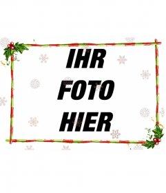 Bearbeiten eines Bildes von dieser Seite mit dieser Vorlage zu Fotomontage aus einer diskreten Teil mit Weihnachten, für ein Foto in der Breite. Girlanden und grünen Balken mit roten Streifen