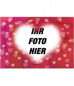 Herz Foto Bilderrahmen Ihr Bild in den Hintergrund zu stellen. Rosa Hintergrund mit vielen Herzen. Ideal für Liebhaber