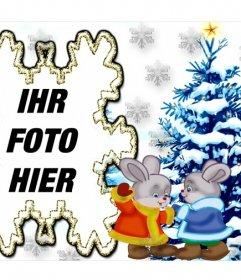 Bild mit zwei Hasen und einem Weihnachtsbaum Ihr Foto hinzufügen