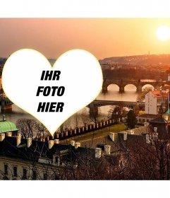 Postkarte mit einem Bild von Prag zu deinem Bild herzförmige