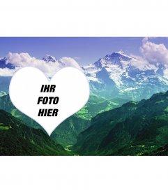 Collage, Ihr Foto in einer Landschaft mit Bergen legte