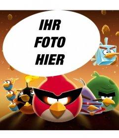 Collage über Angry Birds in Space mit den berühmten Vögel angezogen! Xxx Ihr Lieblingsfoto einfach und kostenlos Setzen Sie in dieser Illustration von Angry Birds Space!