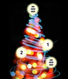 Fotomontage Weihnachtsbaum, wo man vier Bilder auf den beleuchteten Kugeln setzen