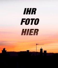 Sonnenuntergang in einer Stadt, wo Sie Ihren Hintergrund photo setzen können