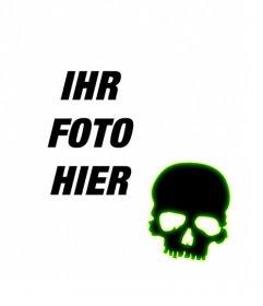 Erstellen Sie einen Avatar für Facebook und Twitter mit einem schwarzen Totenkopf mit grün fluoreszierenden Rand auf einem Foto, das Sie hochladen