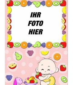 Baby-Bild Fotorahmen, wo sehen Sie ein Kind Essen von Obst und Rahmen von Obst umgeben