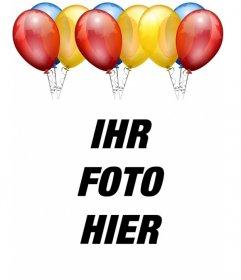 Geburtstagskarte. Mit Luftballons, um Ihr Bild in den Hintergrund