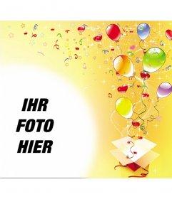 Bilderrahmen anlässlich der Geburtstagsfeier, gelber Hintergrund mit Luftschlangen, Luftballons und Sterne aus einer Geschenkbox
