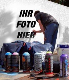 Fotomontage, um das Foto auf einer Straße Graffiti setzen. Sie können eines Ihrer Fotos verwenden, erstellen Sie diese parea Montage