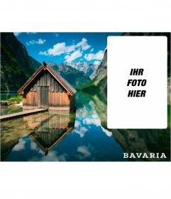 Bayern Postkarte mit einem Bild von einer Hütte