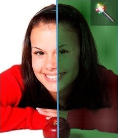 Spielen Sie mit diesem Filter für Bilder Bayer. Ihr Foto-Kopplung der grüne Punkte, blau und rot. Geben Sie Ihr Foto einen Grünstich, als ob wir die gelbe RGB grün