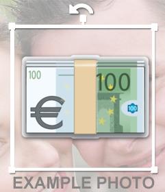 Sticker von hundert Euro können direkt in das Online-Bilder einfügen