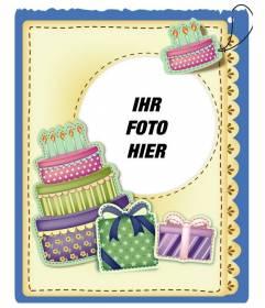 Geburtstagskarte mit Kuchen und Geschenke Aufkleber Effekt setzen Sie das Bild und die Worte der Begrüßung, das Sie bevorzugen