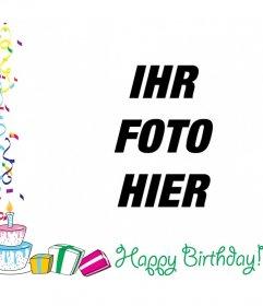 Photo Frame mit Text-ALLES GUTE ZUM GEBURTSTAG mit Dekorationen, Ballone und Geburtstagsgeschenke