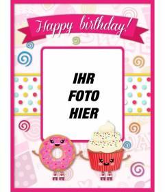 Anpassbare Geburtstagskarte mit rosa kawaii Zeichnungen dekoriert und Cupcakes mit lächelnden Gesicht