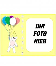 Gelb Geburtstagskarte mit Ihrem Foto mit einem Teddybär und Luftballons personalisiert