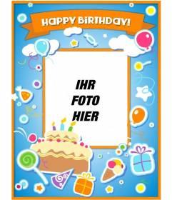 Geburtstagskarte, um den Geburtstag zu gratulieren und legte ein Bild online mit einem Kuchen, Luftballons und Geschenke mit Aufkleber Wirkung