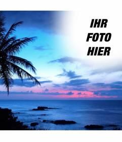 Halterung für Fotos in einer Landschaft von idyllischen Küste und blauer Himmel. xx Erstellen Sie eine Collage mit Ihrem Foto mit einem Hintergrund, in dem wir eine große Palme und der Himmel für diese Landschaft mit einem Foto zu sehen zeigt bis zu den Kanten erscheinen Kanten und glatte Effekte entfernen. Zur Erinnerung an einen besonderen Menschen durch sein Bild in den Himmel von einem Sonnenuntergang im Paradies setzen