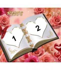 Anpassbare Fotorahmen mit zwei getrennten Fotos. Buch der Liebe mit Ornamenten von Rosen