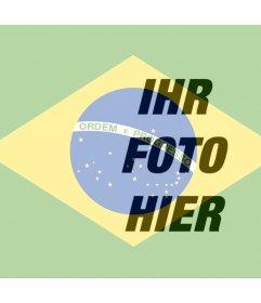 Bringen Sie die brasilianische Flagge neben Ihr Online-Foto
