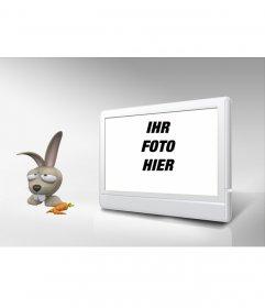 Bilderrahmen-TV und Kaninchen. Passen Sie mit Ihrem Foto!