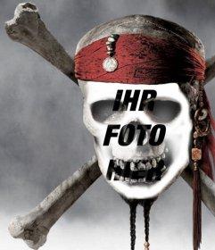Fotomontage eines Piraten-Totenkopf ein Bild von Ihrem Gesicht zu setzen