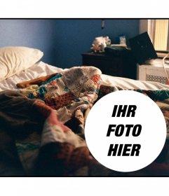 Collage, ein Foto auf eine Szene des Erwachens mit einem Schotterbett gelegt