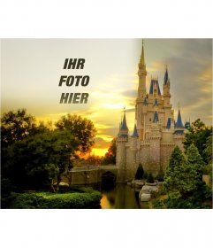 Fotomontage, um das Foto zusammen mit einem Märchenschloss setzen