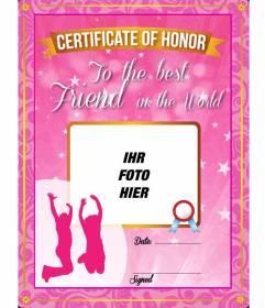 Rosa Zertifikat mit Sternen und funkelt, Ihre beste Freundin geben und legte ein Bild auf sie und Text online