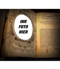 Fotomontage, um Ihr Bild in einem Buch von Cervantes setzen