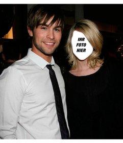 Fotomontage mit Chace Crawford Ihr Gesicht auf das Mädchen zu setzen neben ihm Ihr Gesicht auf den Körper der Schauspielerin Taylor Momsen