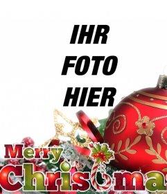 Weihnachten Postkarte mit roten Kugel und Ornamente mit Text FROHE WEIHNACHTEN in den Weihnachtsfarben