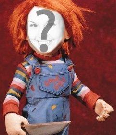 Fotomontage von Chucky, um dein Gesicht zu zeigen