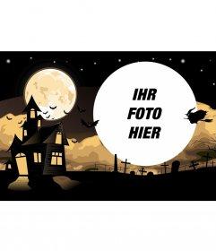 Halloween-Collage mit einem Haus und einem Friedhof