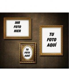 Wand mit 3 goldenen Rahmen, um Ihre Fotos mit einem Retro-Vintage-Touch setzen