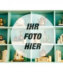 Erstellen Sie Foto-Collage mit diesem Jahrgang Aquamarin Regal mit einem Kreis, in dem Sie Ihr Bild platzieren können