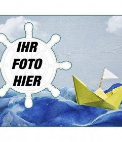 Collage Seemann mit einem Papierboot auf dem Hintergrund von Farbe und ein Fotorahmen förmigen Seitenruder