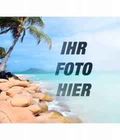 Collage mit einem himmlischen Strand mit blauem Wasser und Palmen, um das Foto setzen und gestalten mit dem Text