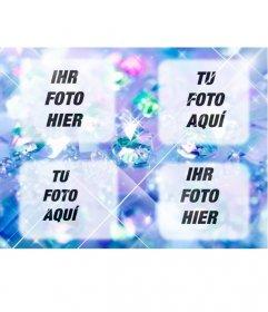 Erstellen Sie eine Collage mit hellen blau mit 4 Diamanten hochgeladen Fotos online und fügt auch ein Text