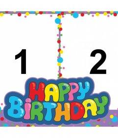 Bunte und fröhliche Happy Birthday Collage mit zwei Fotos zu bearbeiten