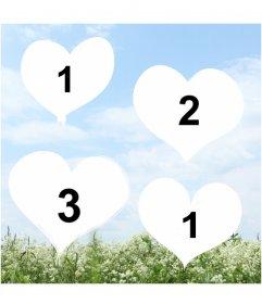 Erstellen Sie eine Collage der Liebe mit Herzen mit Fotos Ihrer Wahl auf einem Hintergrund mit einem Foto einer Landschaft mit einem blauen Himmel und einem Feld von Blumen