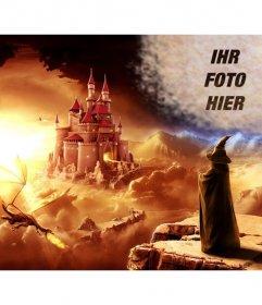 Erstellen Sie eine Collage online in einer Fantasy-Welt mit einem Zauberer Blick auf eine Burg und ein Drache