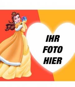 Komposition mit Prinzessin Schöne und das Biest mit einem Geschenk und einem Foto mit dem Herzen