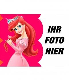 Collage gekleidet Prinzessin Ariel, die ihr Haar mit seiner Krone
