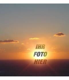 Fotomontage als Collage auf ein Gesicht oder trimmen um den Punkt, wo die Sonne untergeht in einer Küstenlandschaft