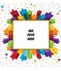 Rechteckige photo Frame bunte Sterne, die Sie für Ihr Profilbild verwenden können