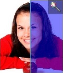 Foto Effekt der Farbgebung in Blau ein Bild. Effect online, keine Notwendigkeit, etwas herunterzuladen und ist kostenlos
