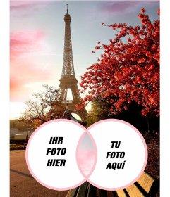 Romantische Fotomontage mit dem Eiffelturm