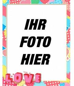 Herz Fetzen Fotorahmen mit dem Wort Liebe